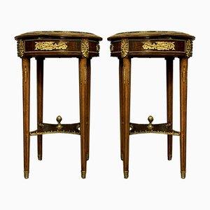 Louis XVI Mahogany & Gilt Bronze Side Tables, 1880s, Set of 2