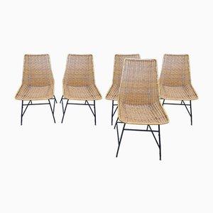 Chaises Vintage en Rotin par GF Legler, 1950s ou 1960s, Set de 5