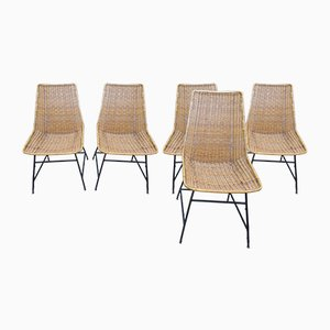 Vintage Rattan Chairs by G. F. Legler, 1950s or 1960s, Set of 5