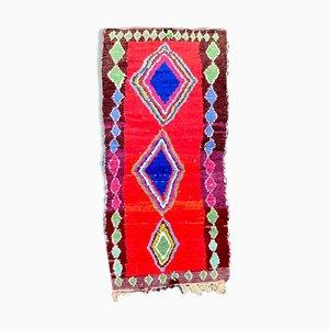Roter Marokkanischer Boucherouite Teppich