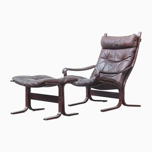 Vintage Lounge Chair with Ottoman by Ingmar Relling for Westnofa, 1960s, Set of 2
