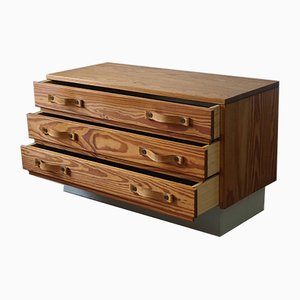 Modernist Scandinavian Chest of Drawers in Oregon Pine and Patinated Leather, 1970s