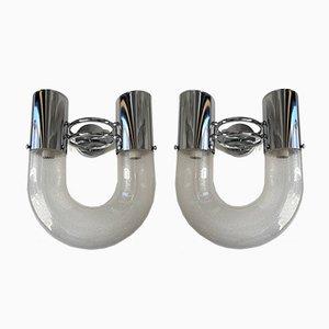 Italian U Sconces in Metal & Murano Glass by Aldo Nason for Mazzega, 1970s, Set of 2