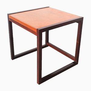 Small Danish Side Table in Rosewood & Leather, 1960s