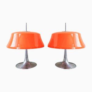 Lampes de Bureau en Orange et en Chrome par Frank J Bentler pour Bentler, Danemark, 1970s, Set de 2