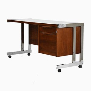 Vintage Walnut & Chrome Desk, 1970s