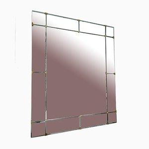 Italian Green & Brass Mirror from Cristal Art, 1960s