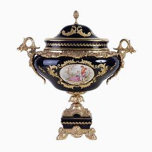 Handbemalte Vase mit Deckel von Limoges