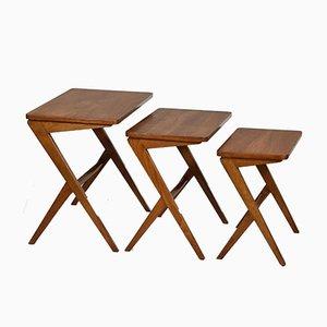 Scandinavian Nesting Tables by Bengt Ruda, 1950s, Set of 3