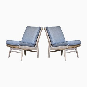 Mid-Century Modern Beach House Easy Chairs with Ian Mankin Fabric from Scandart, 1960s, Set of 2