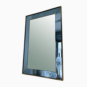 Italian Blue and Brass Mirror from Cristal Art, 1960s