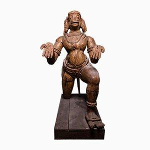 Skulptur Hindu Affengott Hanuman aus geschnitztem Holz, Orissa Indien, 17. Jahrhundert