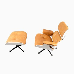 Cognac Leather Lounge Chair with Ottoman by Charles & Ray Eames for Vitra, 1970, Set of 2