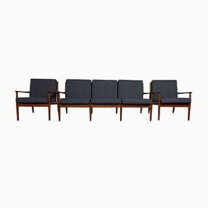 Danish Teak Armchairs & Sofa by Svend Aage Eriksen for Glostrup, 1960s, Set of 3