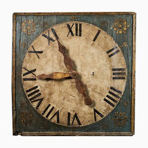 Early 19th Century Clock on Polychrome Panel with Hands in Golden Metal Fixed on a Tin Sheet