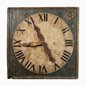 Wanduhr aus frühem 19. Jh. Mit Polychromer Tafel aus vergoldetem Metall auf Zinnblech