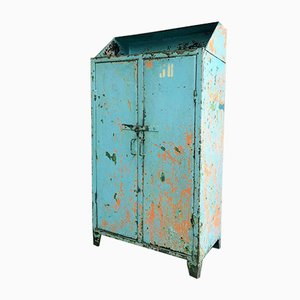 Vintage Iron Cabinet or Sideboard in Blue