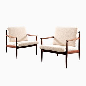 Mid-Century Lounge Chairs by Carl Straub for Goldfeder in Sheepskin, Set of 2