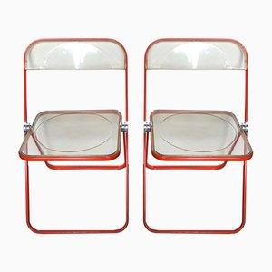 Orange Plia Chairs by Giancarlo Piretti for Castelli / Anonima Castelli, Set of 2