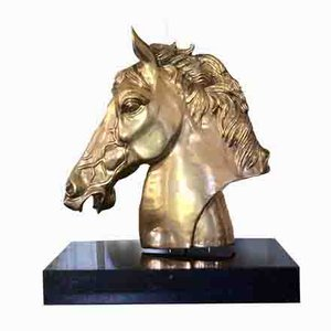 Escultura de cabeza de caballo grande e impresionante de latón firmado P. Mene