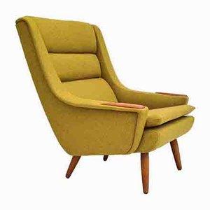 Restored Danish Armchair in Wool & Teak Wood, 1970s