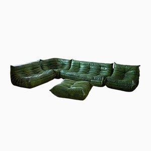Grünes Togo Wohnzimmer Set von Michel Ducaroy für Ligne Roset, 1970er, 5er Set