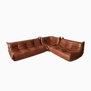 Set di sofà modulare vintage in pelle di Michel Ducaroy per Ligne Roset, anni '70, set di 3