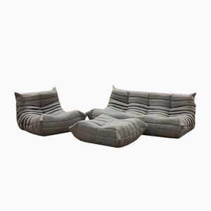 Set da salotto Togo vintage grigio di Michel Ducaroy per Ligne Roset, set di 3, Francia
