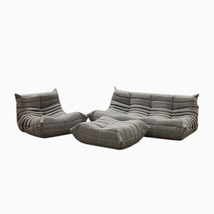 Vintage French Togo Living Room Set in Grey Fabric by Michel Ducaroy for Ligne Roset, Set of 3