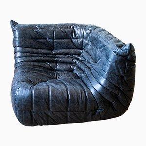 Vintage Black Pull-Up Dubai Leather Togo Corner Sofa by Michel Ducaroy for Ligne Roset