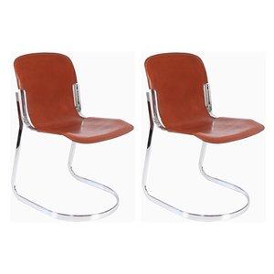 Leder und Chrom Stühle von Willy Rizzo für Cidue, 2er Set