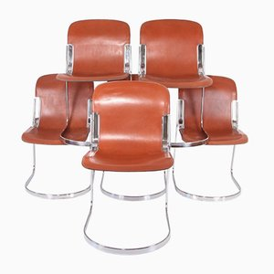 Leather and Chrome Chairs by Willy Rizzo for Cidue, Set of 6