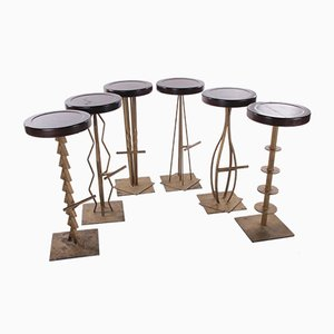 Brutalist Metal Bar Stools, Set of 6