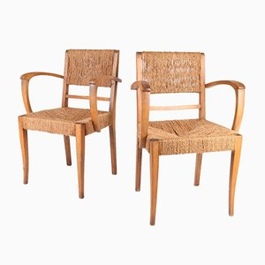 Wood and Rope Armchairs, 1950s, Set of 2