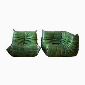 Juego de sofá y esquina Togo Dubai de cuero verde de Michel Ducaroy para Ligne Roset, años 70. Juego de 2