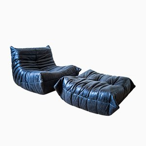 Vintage Black Pull-Up Dubai Leather Togo Lounge Chair and Ottoman Set by Michel Ducaroy for Ligne Roset, 1970s, Set of 2