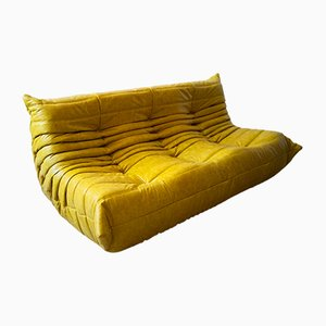 Vintage Yellow & Black Pull-Up Leather 3-Seater Togo Sofa by Michel Ducaroy for Ligne Roset