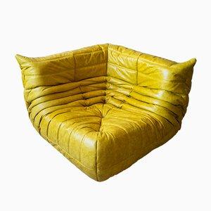 Vintage Yellow Pull-Up Dubai Leather Togo Corner Sofa by Michel Ducaroy for Ligne Roset