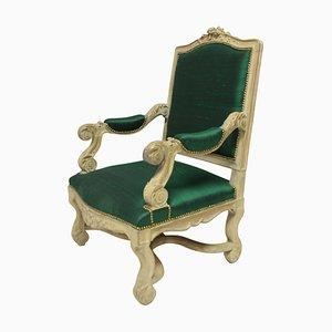 Poltrona Luigi XIV in seta color smeraldo