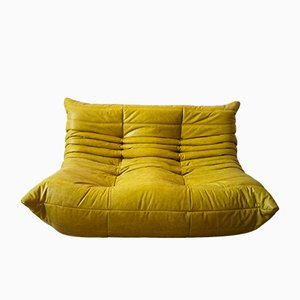 Vintage Yellow Pull-Up Dubai Leather 2-Seater Togo Sofa by Michel Ducaroy for Ligne Roset