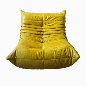 Vintage Yellow Pull-Up Dubai Leather Togo Lounge Chair by Michel Ducaroy for Ligne Roset