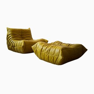 Vintage Yellow Pull-Up Dubai Leather Togo Lounge Chair and Ottoman Set by Michel Ducaroy for Ligne Roset, 1970s, Set of 2