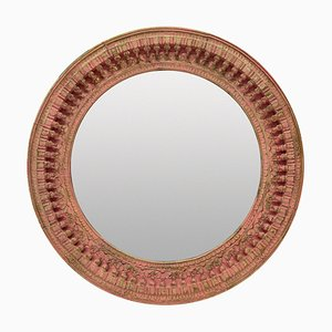Large Indian Carved & Painted Circular Mirror