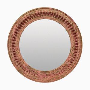 Specchio grande rotondo intagliato e dipinto, India