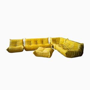 Set da salotto giallo in pelle di Michel Ducaroy per Ligne Roset, anni '70, set di 5