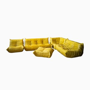 Yellow Pull-Up Dubai Leather Living Room Set by Michel Ducaroy for Ligne Roset, 1970s, Set of 5