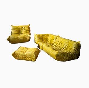 Gelbe Sitzgruppe aus Leder von Michel Ducaroy für Ligne Roset, 1970er, 4er Set