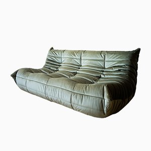 Vintage Velvet Khaki 3-Seat Togo Sofa by Michel Ducaroy for Ligne Roset
