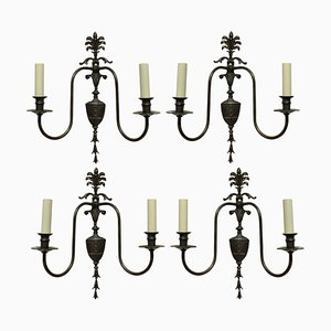 Twin Branch Wall Lights in the Adam Style, Set of 4