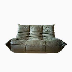 Vintage Khaki Velvet 2-Seater Togo Sofa by Michel Ducaroy for Ligne Roset